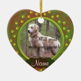 Dog or Cat Paw Prints Photo Christmas Ceramic Heart Ornament