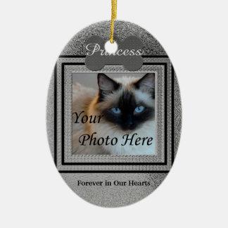 Dog or Cat Photo Memorial Custom Silver Ceramic Oval Ornament