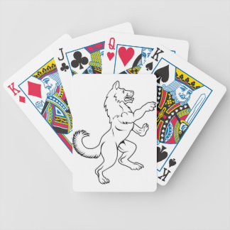 Dog or Wolf in Heraldic Rampant Coat of Arms Pose Bicycle Playing Cards