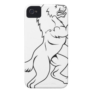 Dog or Wolf in Heraldic Rampant Coat of Arms Pose iPhone 4 Covers