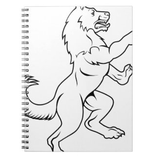 Dog or Wolf in Heraldic Rampant Coat of Arms Pose Notebook