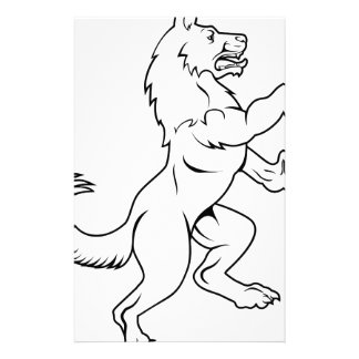 Dog or Wolf in Heraldic Rampant Coat of Arms Pose Stationery