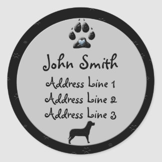 Dog Paw Black and Gray for Address Classic Round Sticker