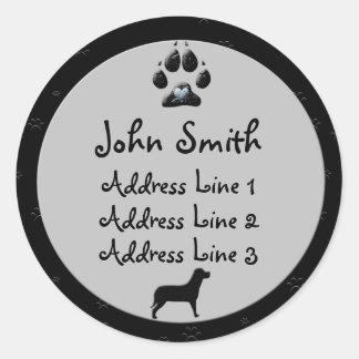Dog Paw Black and Gray for Address Round Sticker