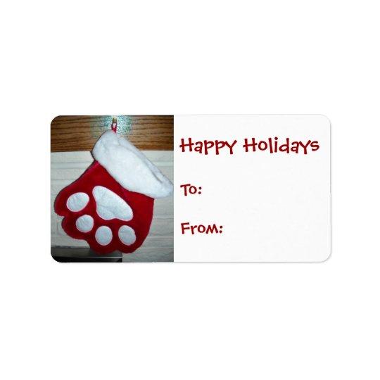 Dog Paw Christmas Stocking Label