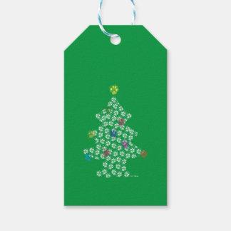 Dog Paw Christmas Tree Gift Tags
