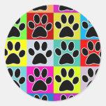 dog paw coloured round sticker
