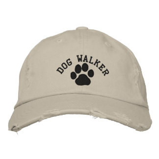Dog Paw Dog Walker with Customizable Text Baseball Cap