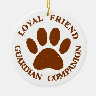 Dog Paw Loyal Friend Round Ceramic Ornament