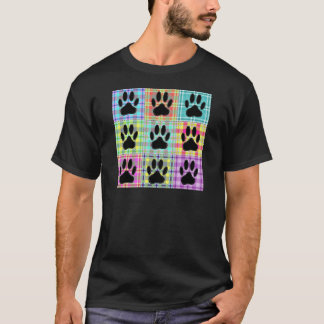 Dog Paw Pattern Quilt T-Shirt