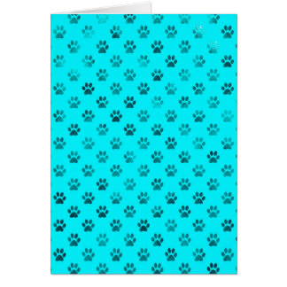 Dog Paw Print Blue Teal Aqua Background Metallic Card