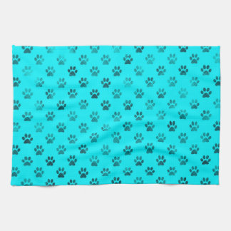 Dog Paw Print Blue Teal Aqua Background Metallic Kitchen Towel