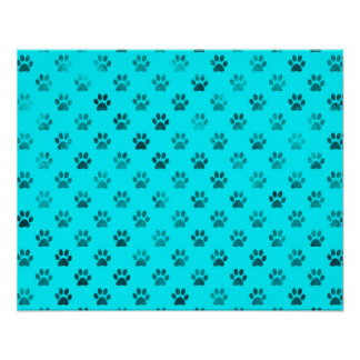 Dog Paw Print Blue Teal Aqua Background Metallic