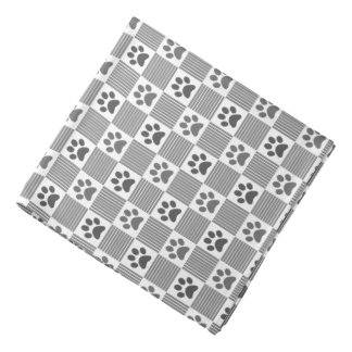 Dog Paw Print Gingham Pattern Cute Gray White Pet Bandana