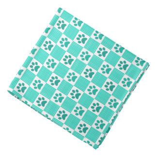 Dog Paw Print Gingham Pattern Cute Mint Green Pet Bandana