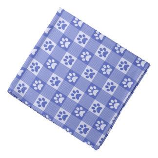 Dog Paw Print Gingham Pattern Cute Periwinkle Blue Bandana