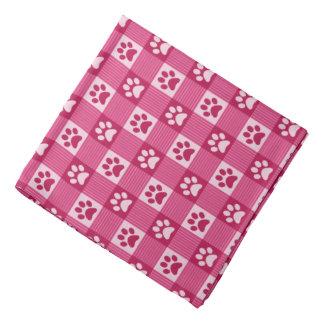 Dog Paw Print Gingham Pattern Cute Pink Pet Bandana