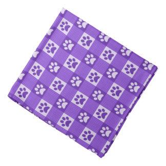 Dog Paw Print Gingham Pattern Cute Purple Pet Bandana
