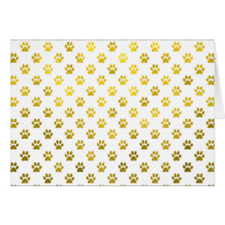 Dog Paw Print Gold White Metallic Faux Foil Paws Card