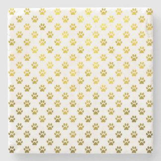 Dog Paw Print Gold White Metallic Faux Foil Paws Stone Coaster