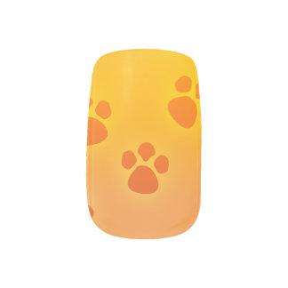 Dog Paw Print Nail Art Orange Yellow