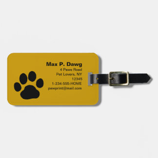 Dog Paw Print on Yellow (Color is Customizable) Luggage Tag