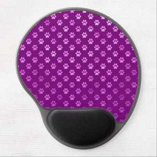 Dog Paw Print  Purple Background Metallic Faux Gel Mouse Pad
