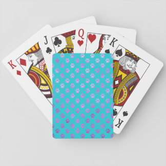 Dog Paw Print Purple Pink Aqua Teal Blue Playing Cards