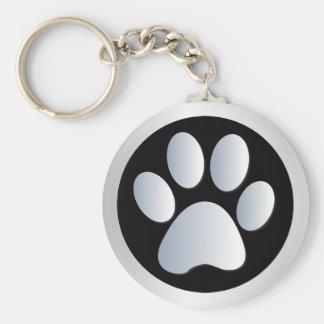 Dog paw print  silver, black keychain, gift idea keychain