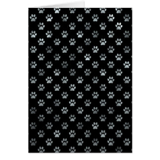 Dog Paw Print Silver Gray Black Background Card