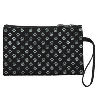Dog Paw Print Silver Gray Black Background Wristlet Purses
