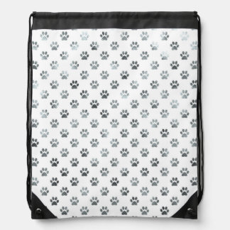 Dog Paw Print Silver Gray White Metallic Faux Foil Drawstring Backpack