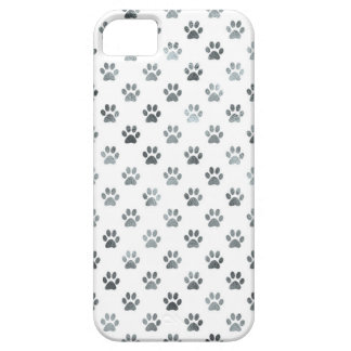 Dog Paw Print Silver Gray White Metallic Faux Foil iPhone 5 Case