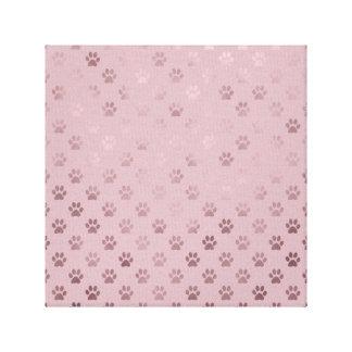 Dog Paw Print Vintage Rose Pink Background
