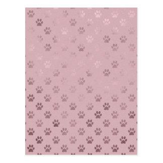 Dog Paw Print Vintage Rose Pink Background Postcard