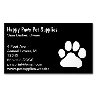 Dog Paw Print - White on Black Magnetic Business Card