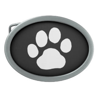 Dog Paw Print - White on Black Oval Belt Buckles