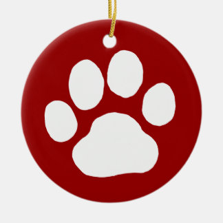 Dog Paw Print (White on Red) Ceramic Ornament