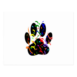 Dog Paw Print With Confetti And Streamer Postcard