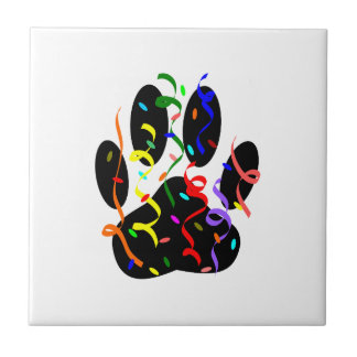 Dog Paw Print With Confetti And Streamer Tile