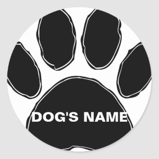Dog Paw Print With Custom Name Classic Round Sticker