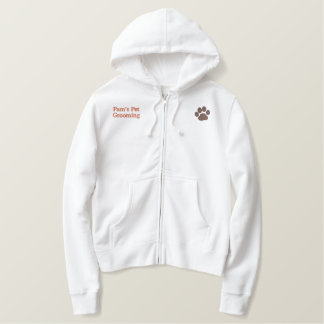 Dog Paw Print with Custom Text and Colors Embroidered Hoodie