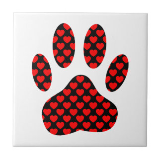 Dog Paw Print With Hearts Tile