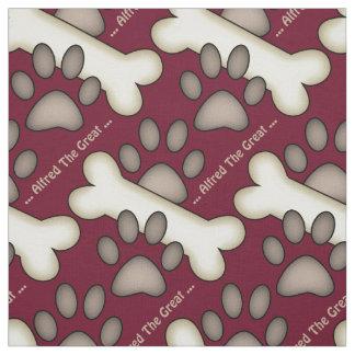 Dog Paw Prints And Bones Custom Canine Fabric