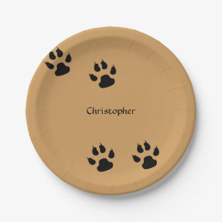 Dog Paw Prints (change background) 7 Inch Paper Plate