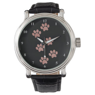 Dog Paw Prints for Animal Lovers Rose Gold Pink Watch