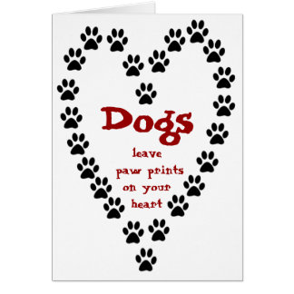 Dog Paw Prints Heart Greeting Cards