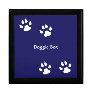 Dog Paw Prints on Blue Trinket Box