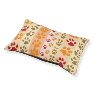 Dog Paw Prints Pattern Small Dog Bed