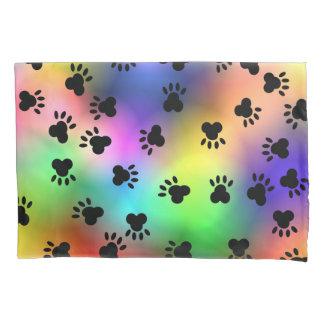 Dog Paw Prints Rainbow Pillow Case Pillowcase